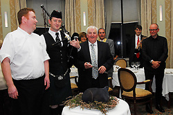 On the occasion of the visit of the Confrerie des Chevaliers di Goute-Boudin (The Black Pudding Fraternity of Lovers of good food ) from Mortagne-au-Perche Normandy, France coming to Mayo to present a medal  to Sean Kelly of Dominick Kelly's Butchers from Newport, Co Mayo. Seamus Commons Head Chef Knockranny House Hotel prepared a unique 9 course menu for the french visitors using Black Pudding in each course Traditional piper Keith O'Malley from Keel Achill lead the Putog into the dining room in salute of the fraternity and the achievement of Kelly's butchers.  ...Pic Conor McKeown
