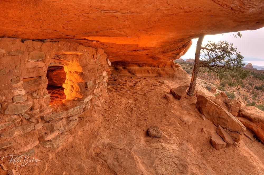 Anasazi granaries on Aztec Butte, Island in the Sky, Canyonlands National Park, Utah USA