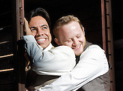 Stephen Sondheim's <br /> Road Show<br /> at the Menier Chocolate Factory, London, Great Britain <br /> press photocall <br /> 5th July 2011 <br /> <br /> European Premier<br /> <br /> Michael Jibson (as Addison Mizner)<br /> David Bedella (as Wilson Mizner)<br /> <br /> Photograph by Elliott Franks
