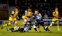 Halani Aulika of Sale Sharks tackles Marco Mama of Worcester Warriors - Mandatory by-line: Matt McNulty/JMP - 07/04/2017 - RUGBY - AJ Bell Stadium - Sale, England - Sale Sharks v Worcester Warriors - Aviva Premiership