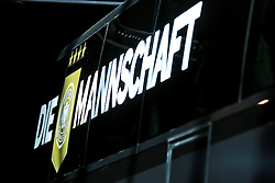 08.06.2015, Mercedes Benz Zenter, Koeln, GER, Nationalmannschaft, Pressekonferenz, im Bild Logo Die Mannschaft auf dem neuen Mannschaftsbus // during a press conference of the german national football team at the Mercedes Benz Zenter in Koeln, Germany on 2015/06/08. EXPA Pictures © 2015, PhotoCredit: EXPA/ Eibner-Pressefoto/ Schüler<br /> <br /> *****ATTENTION - OUT of GER*****