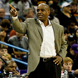 Jan 1, 2013; New Orleans, LA, USA; Atlanta Hawks head coach Larry Drew reacts during the second half of a game against the New Orleans Hornets at the New Orleans Arena. The Hawks defeated the Hornets 95-86. Mandatory Credit: Derick E. Hingle-USA TODAY Sports
