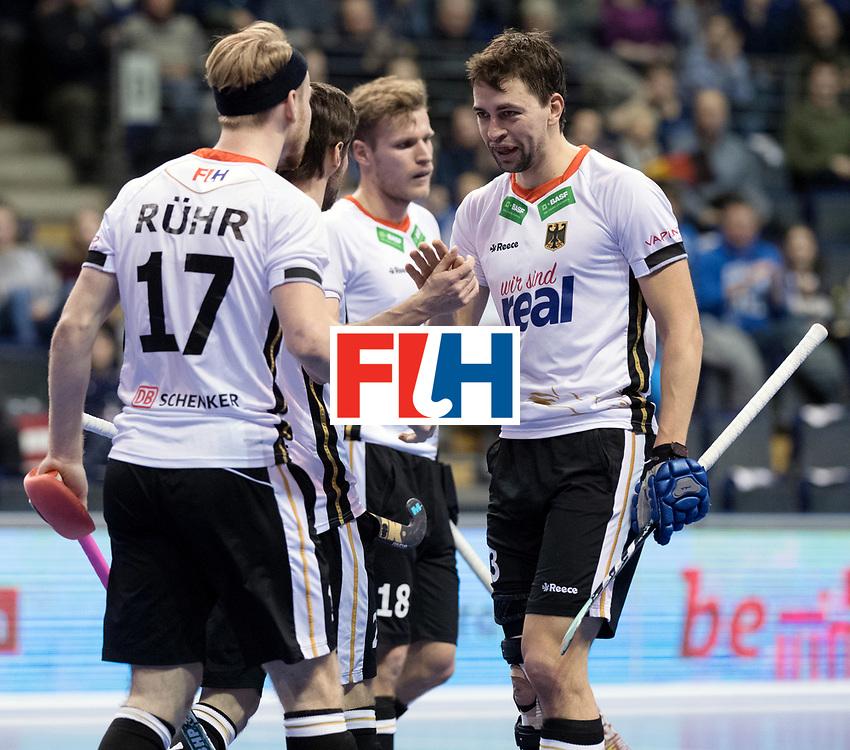 BERLIN - Indoor Hockey World Cup<br /> Men: Germany -  Trinidad &amp; Tobago<br /> foto: Tobias Hauke and Christopher R&uuml;hr.<br /> WORLDSPORTPICS COPYRIGHT FRANK UIJLENBROEK