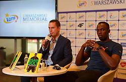 20.08.2014, National Stadion, Warschau, POL, Pressekonferenz, Usain Bold, im Bild Usain Bold (JAM) // Usain Bold of Jamaica // during a press conference in memorial Kamila Skolimowska at the National Stadion in Warschau, Poland on 2014/08/20. EXPA Pictures © 2014, PhotoCredit: EXPA/ Newspix/ KRZYSZTOF BURSK<br /> <br /> *****ATTENTION - for AUT, SLO, CRO, SRB, BIH, MAZ, TUR, SUI, SWE only*****
