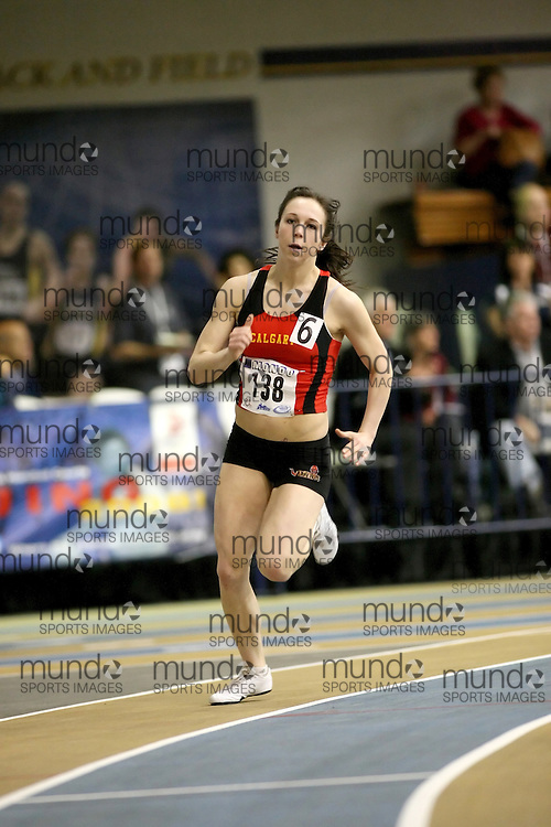 Windsor, Ontario ---13/03/09--- Jenn Zimmer of  the University of Calgary competes in the 300m Prelims at the CIS track and field championships in Windsor, Ontario, March 13, 2009..Sean Burges Mundo Sport Images
