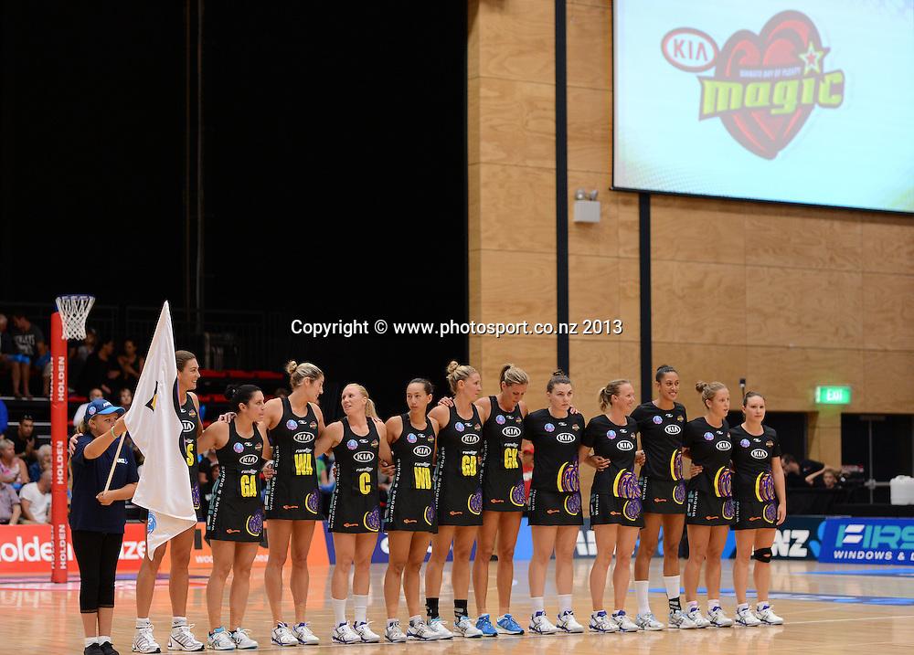 Magic players line up. ANZ Netball Championship. KIA Waikato Bay of Plenty Magic v NSW Swifts, ASB Baypark Arena, Tauranga. New Zealand. Sunday 31 March 2013. Photo: Andrew Cornaga/Photosport.co.nz