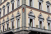 Traditional Florentine architecture on corner of San Giovanni and via de Martelli in Florence, Tuscany, Italy