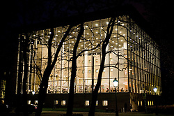 Night exterior view of modern public library in Malmo Sweden