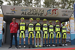 February 14, 2018 - Lagos, Portugal - Efapel before the 1st stage of the cycling Tour of Algarve between Albufeira and Lagos, on February 14, 2018. (Credit Image: © Str/NurPhoto via ZUMA Press)