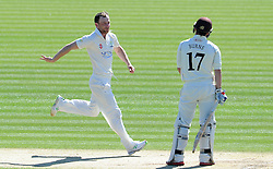 Glamorgan's Graham Wagg celebrates the wicket of Surrey's Rory Burns. - Photo mandatory by-line: Harry Trump/JMP - Mobile: 07966 386802 - 22/04/15 - SPORT - CRICKET - LVCC County Championship - Division 2 - Day 4 - Glamorgan v Surrey - Swalec Stadium, Cardiff, Wales.