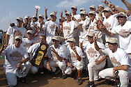 The Texas Longhorns pose for a team picture, after defeating the Florida Gators 6-2 for the National Championship at the College World Series in Omaha, Nebraska on June 26, 2005.