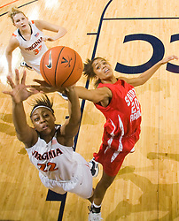 Virginia forward Monica Wright (22) and St. Francis (PA) guard Brittany Lilley (20) battle for a rebound.  The #15 ranked Virginia Cavaliers defeated the St. Francis (Pa.) Red Flash 82-66 in NCAA Women's Basketball at the John Paul Jones Arena on the Grounds of the University of Virginia in Charlottesville, VA on January 5, 2009.