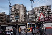 Nine Elms market in Vauxhall near the new U.S. Embassy and extensive development, Nine Elms, London. 6 January 2018