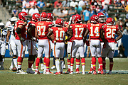 The Kansas City Chiefs offense calls a play in the huddle during the 2018 regular season week 1 NFL football game against the Los Angeles Chargers on Sunday, Sept. 9, 2018 in Carson, Calif. The Chiefs won the game 38-28. (©Paul Anthony Spinelli)