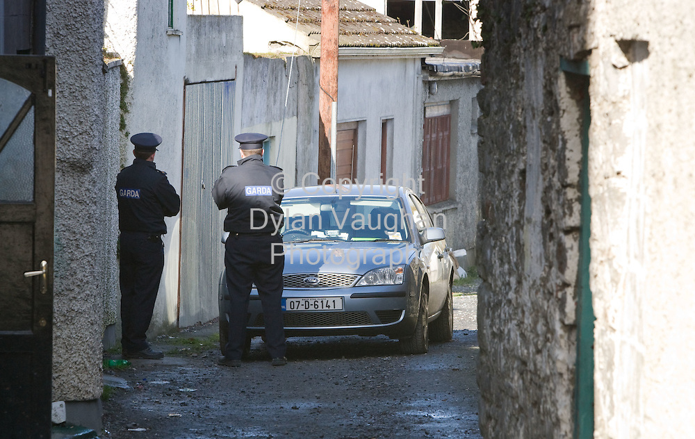 9/3/2008.Gardai pictured at Clodeen Lane in Callan yesterday investigating the circumstances where a woman died of her injuries at ST Lukes Hospital in Kilkenny on Saturday..Picture Dylan Vaughan.