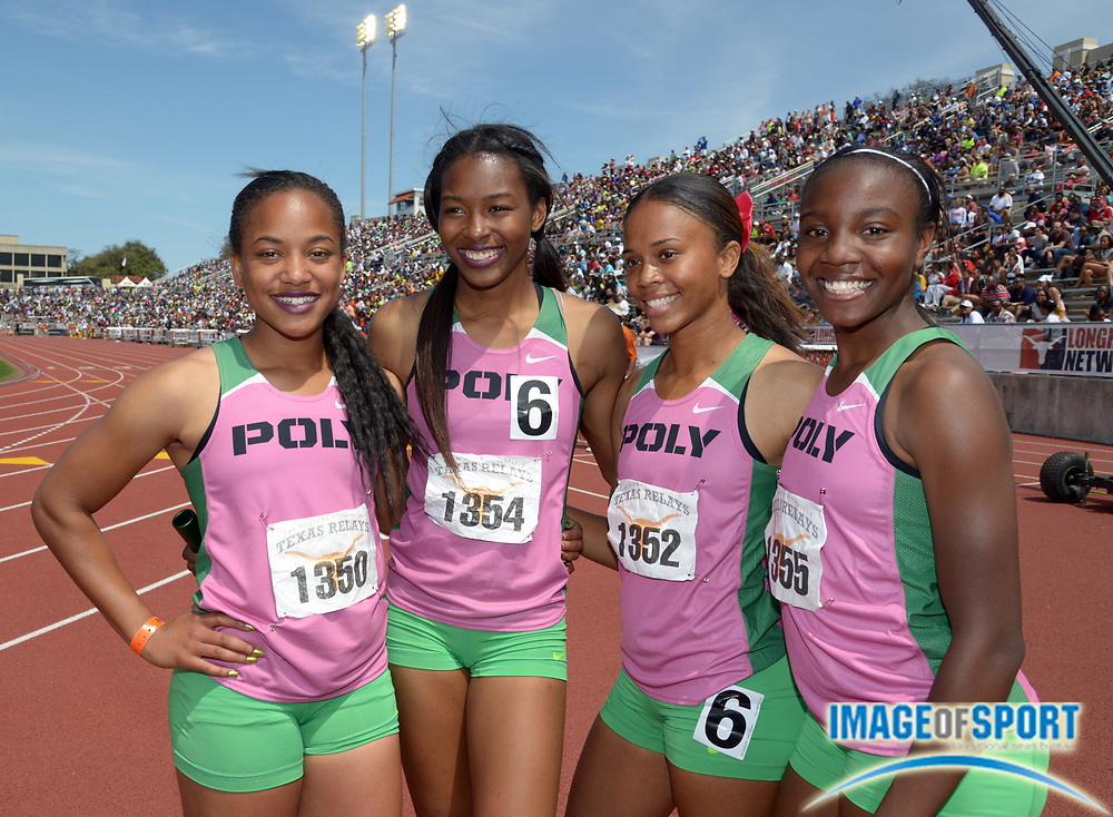 Mar 29, 2014; Austin, TX, USA; Members of the Long Beach Poly girls 4 x 100m relay pose after winning the Division II race in 45.73 in the 87th Clyde Littlefield Texas Relays at Mike A. Myers Stadium. From left: Jade Lewis and Ariana Washington and Maya Perkins and Autumn Wright.
