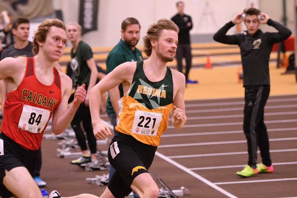 Ret Brailsford in action during the 2018 Canada West Track & Field Championship on February  24 at James Daly Fieldhouse. Credit: Arthur Ward/Arthur Images