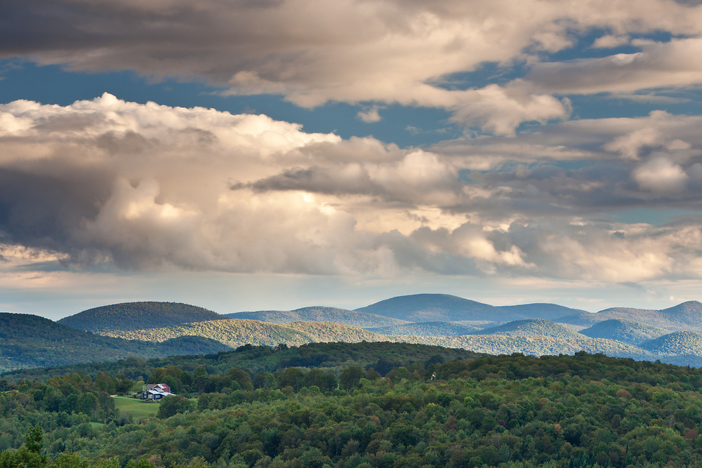 Cumulous clouds and afternoon light from Nichols Ledge, Cabot, Vermont