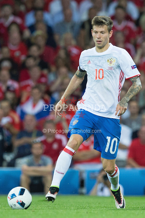 TOULOUSE, FRANCE - Monday, June 20, 2016: Russia's Fyodor Smolov during the final Group B UEFA Euro 2016 Championship match against Wales at Stadium de Toulouse. (Pic by Paul Greenwood/Propaganda)
