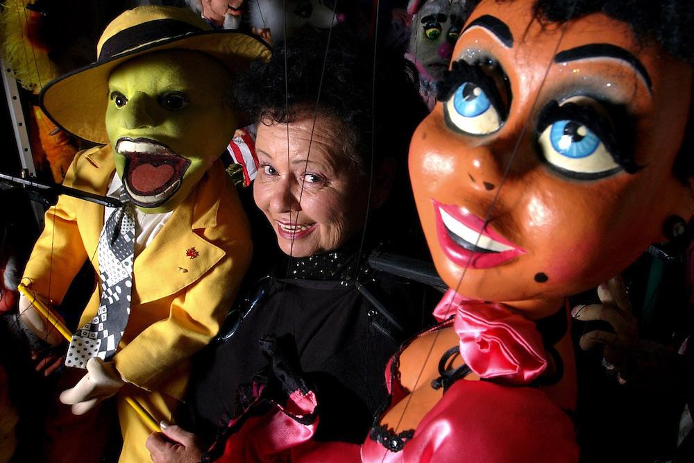 Marionette artist Linda Sliski (cq), 61, in her garage in New Port Richey.