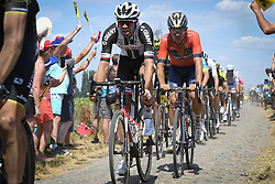 July 15, 2018 - Amiens Metropole, FRANCE - Dutch Tom Dumoulin of Team Sunweb pictured in action during the ninth stage of the 105th edition of the Tour de France cycling race, from Arras Citadelle to Roubaix (156,5 km), in France, Sunday 15 July 2018. This year's Tour de France takes place from July 7th to July 29th...BELGA PHOTO DAVID STOCKMAN (Credit Image: © David Stockman/Belga via ZUMA Press)