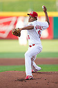 Carlos Martinez (16) of the Springfield Cardinals delivers a pitch during a game against the Arkansas Travelers at Hammons Field on July 24, 2012 in Springfield, Missouri. (David Welker/Four Seam Images)