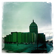 A Hipstamatic iPhone image of the Kodak building in Rochester, New York State. USA. 16th April 2013. Photo Tim Clayton