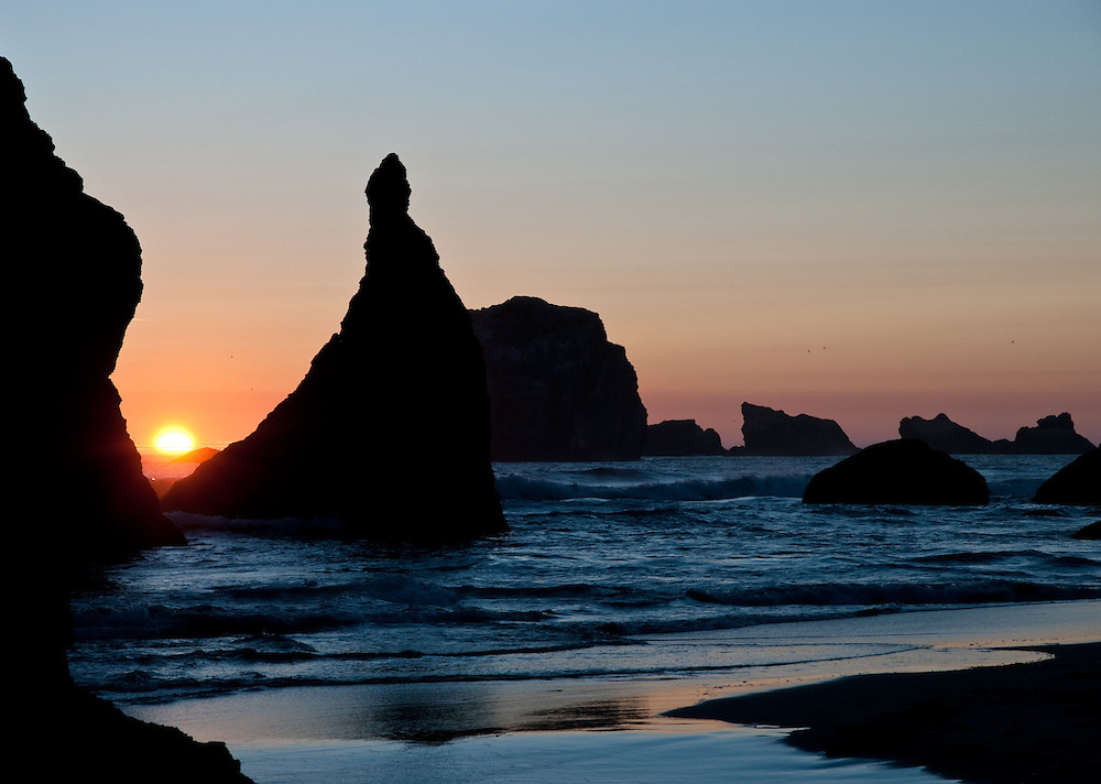 Sun Setting at Bandon Beach