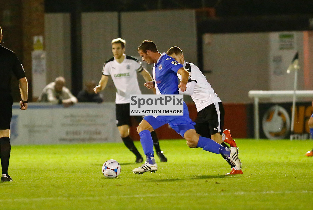 Eastleigh's forward James Constable (9) puts Eastliegh up in the 53rd minute. Dover Athletic v Eastleigh. Vanarama National League. 10  November 2015. (c) Matt Bristow | SportPix.org.uk