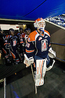 KELOWNA, CANADA, FEBRUARY 11: Cam Lanigan #30 of the Kamloops Blazers heads to the ice as the Kamloops Blazers visit the Kelowna Rockets on February 11, 2012 at Prospera Place in Kelowna, British Columbia, Canada (Photo by Marissa Baecker/www.shootthebreeze.ca) *** Local Caption ***