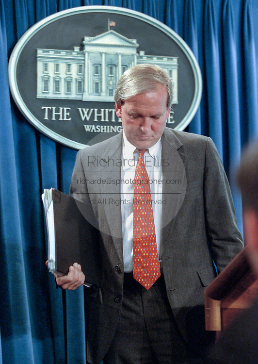 "White House spokesman Michael McCurry during a briefing to the media in the White House September 10, 1998 in Washington, DC.  McCurry commented on the release of the Starr Report and President Clinton has ""a lot of amends to make and he will be making those amends to all and everyone""."
