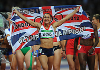Olympics - London 2012 - Athletics - Women's Heptathalon<br /> Jessica Ennis (GB) celebrates winning the gold medal following her win of the 800m element of the Women's Heptathalon at the Olympic Stadium, London