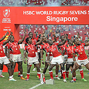 Kenyans dance after winning the Championship Cup at the HSBC Singapore 7's, day 2, Singapore National Stadium, Singapore.  Photo by Barry Markowitz, 4/17/16