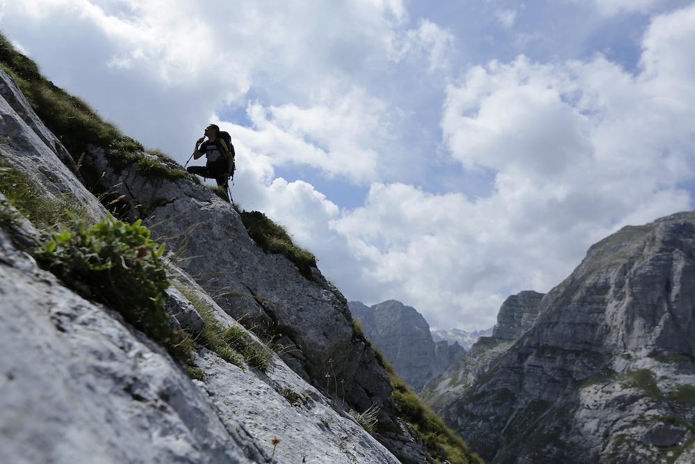 Bosnian alpinist Kenan Muftic on the approach to Zla Kolata / Maja e Keq 2535m, Albania and Montenegro border.