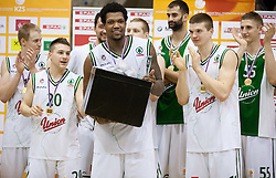 Sasu Salin, Jan Mocnik MVP Deon Marshall Thompson, Boris Rothbart, Dino Muric and Gezim Morina of Olimpija celebrate after winning the basketball match between KK Union Olimpija Ljubljana and KK Krka Novo mesto of finals of 11th Slovenian Spar Cup 2012, on February 19, 2012 in Sports hall Brezice,  Brezice, Slovenia. Union Olimpija defeated Krka 68-63 and became Slovenian Cup Champion 2012. (Photo By Vid Ponikvar / Sportida.com)