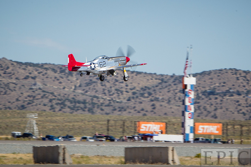 RENO, NV - SEPTEMBER 13: Tom Nightingale in his airplane named Bunny leaves the ground for his practice heats in the unlimited category at the Reno Championship Air Races on September 13, 2017 in Reno, Nevada. (Photo by Jonathan Devich/Getty Images) *** Local Caption *** Tom Nightingale