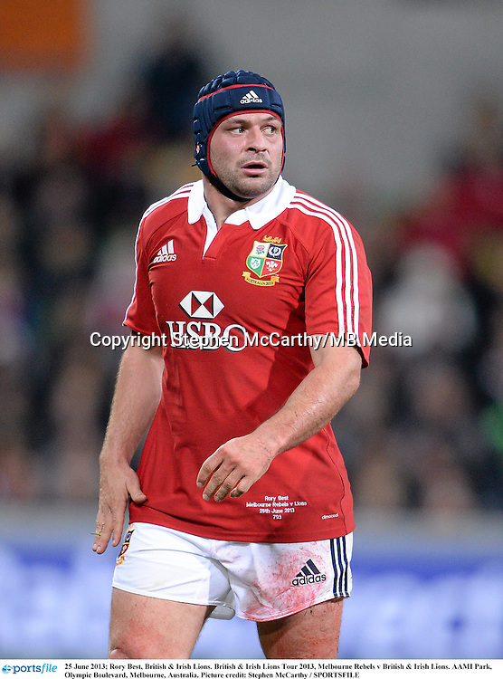 25 June 2013; Rory Best, British & Irish Lions. British & Irish Lions Tour 2013, Melbourne Rebels v British & Irish Lions. AAMI Park, Olympic Boulevard, Melbourne, Australia. Picture credit: Stephen McCarthy / SPORTSFILE