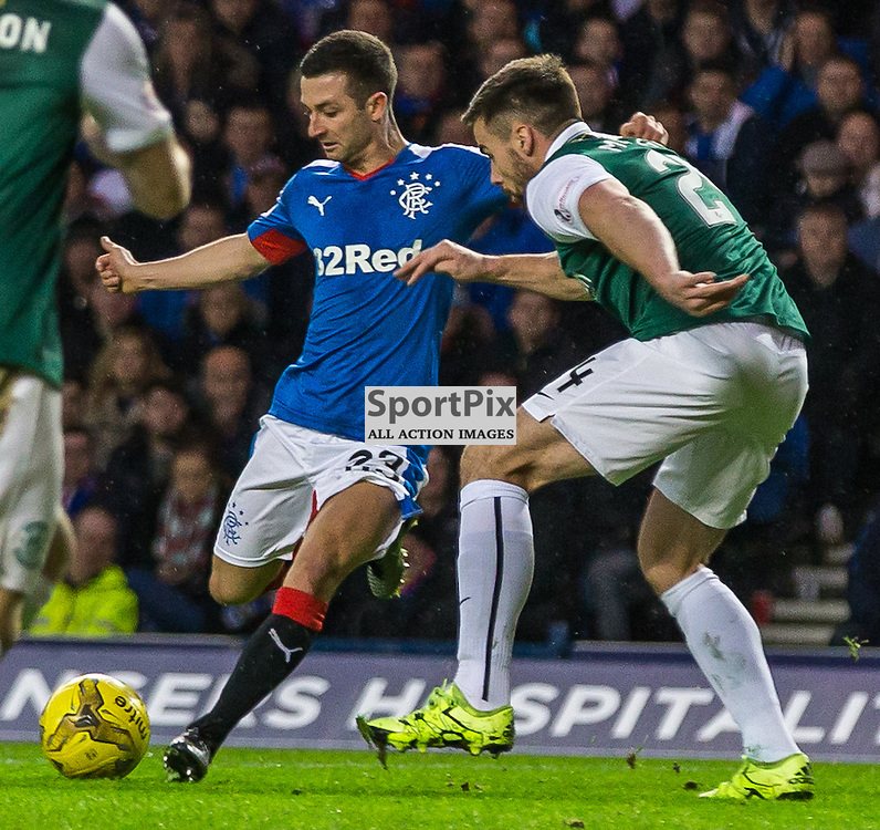 Jason Holt scores for Rangers during the match between Rangers and Hibernian (c) ROSS EAGLESHAM | Sportpix.co.uk