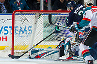KELOWNA, CANADA - JANUARY 30:  Roman Basran #30 of the Kelowna Rockets makes a save on a shot by Matthew Wedman #21 of the Seattle Thunderbirds on January 30, 2019 at Prospera Place in Kelowna, British Columbia, Canada.  (Photo by Marissa Baecker/Shoot the Breeze)