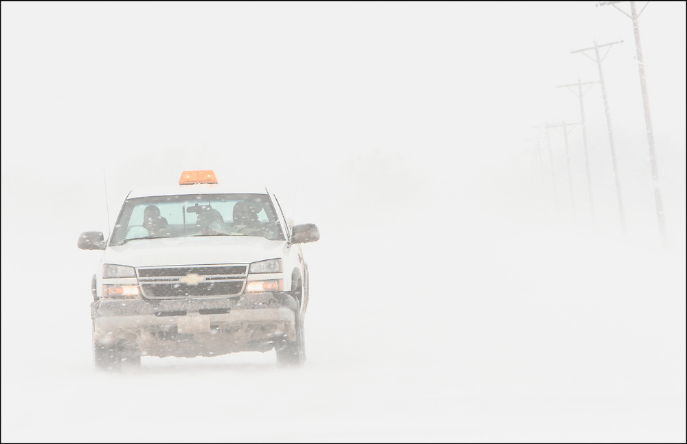 County vehicle driving east on 119th St. by Seneca Rd. in a blizzard in Sumner County, Kansas on March 28, 2009.