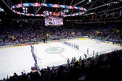 Teams of Slovenia and Slovakia during ice-hockey match between Slovakia and Slovenia of Group A of IIHF 2011 World Championship Slovakia, on April 29, 2011 in Orange Arena, Bratislava, Slovakia. Slovakia defeated Slovenia 3-1. (Photo By Vid Ponikvar / Sportida.com)