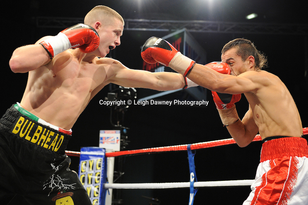 Karl Place (black shorts) defeats Ivan Godor in a 6x3 Light Welterweight contest at the Premier Suite, Reebok Stadium, Bolton, UK on 22.10.11. Frank Maloney Promotions. Photo credit: © Leigh Dawney.