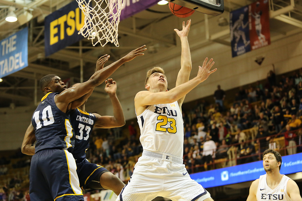 March 3, 2018 - Asheville, North Carolina - U.S. Cellular Center: ETSU guard Dillon Reppart (23)<br /> <br /> Image Credit: Dakota Hamilton/ETSU