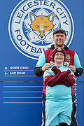 West Ham United fans during the Barclays Premier League match between Leicester City and West Ham United at the King Power Stadium, Leicester, England on 17 April 2016. Photo by Simon Davies.