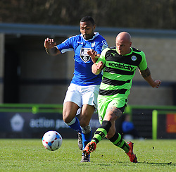 Macclesfield Town's Matthew Barnes Homer and Forest Green Rovers's David Pipe battle for the ball - Photo mandatory by-line: Nizaam Jones - Mobile: 07966 386802 - 11/04/2015 - SPORT - Football - Nailsworth - The New Lawn - Forest Green Rovers v Macclesfield Town - Vanarama Football Conference