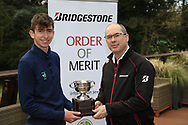 Tom McKibbin winner of the junior Bridgestone Order of Merit pictured with Colm Conyngham Bridgestone Ireland at the presentations in the GUI National Academy, Maynooth, Kildare, Ireland. 30/11/2019.<br /> Picture Fran Caffrey / Golffile.ie<br /> <br /> All photo usage must carry mandatory copyright credit (© Golffile   Fran Caffrey)