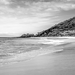 Makena Big Beach Maui Hawaii black and white panorama photo. Big Beach is in Wailea-Makena Kihei Hawaii. Panoramic photo ratio is 1:3. Copyright ⓒ 2019 Paul Velgos with All Rights Reserved.