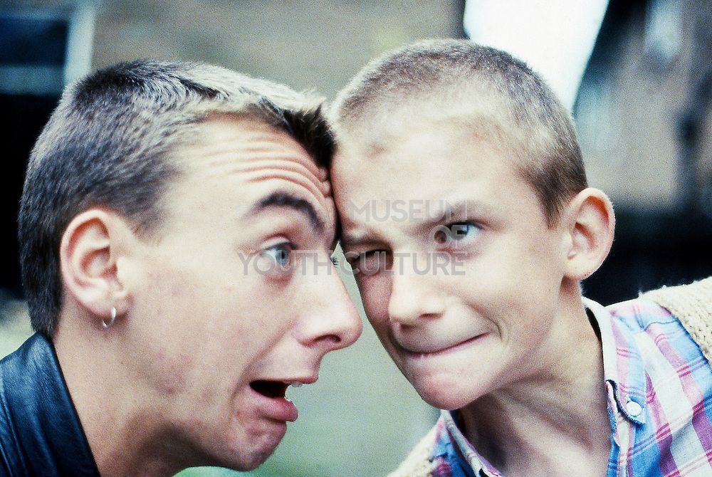 Symond and Neville Pulling Faces, High Wycombe, UK, 1980s.