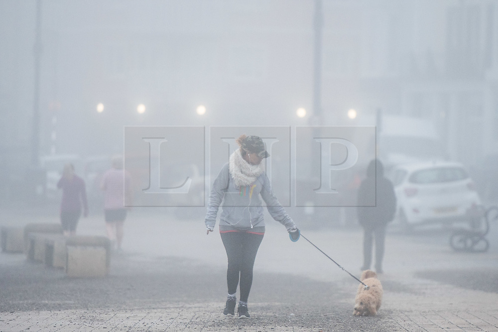 © London News Pictures. 21/02/2017. Aberystwyth, UK.<br /> Thick fog and mist engulfs the coastline at Aberystwyth in the early morning on damp and mild February day. Photo credit: Keith Morris/LNP