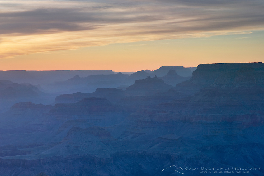 Silhouettes of overlapping mesas and buttes, Grand Canyon National Park Arizona